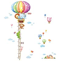 Decowall Animal Hot Air Balloon Height Chart Kids Wall Decals Wall Stickers Peel and Stick Removable Wall Stickers for Kids Nursery Bedroom Living Room(1606+1406A/B 1506C)