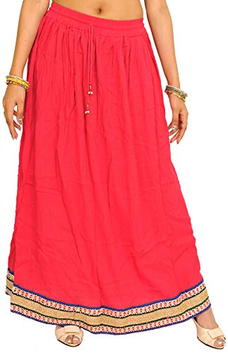 Exotic India Plain Long Skirt with Embellished Patch Border - Color Paradise Pink