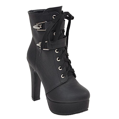 Carolbar Women's Western Concise High Heel Lace Up Platform Short Boots Black qwr1uHQ
