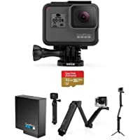 GoPro HERO6 Black - Bundle With GoPro 3-Way 3-in-1 Mount, 32GB MicroSDHC U3 Card, Spare Battery