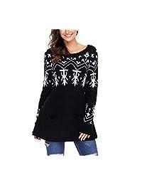 NOHOPE-Suéteres suéter de Navidad de Invierno/Patrones de Punto de Navidad/Mujer Casual Fit/Cuello Redondo/Manga Larga/puños de canalé/Bolsillos de Parche