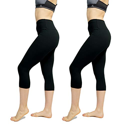 Women's High Waist Leggings 1/2 Pack - Yoga Pants Tummy Control Slimming Booty Leggings Workout Running Butt Lift Tights(One Size, Black #2)