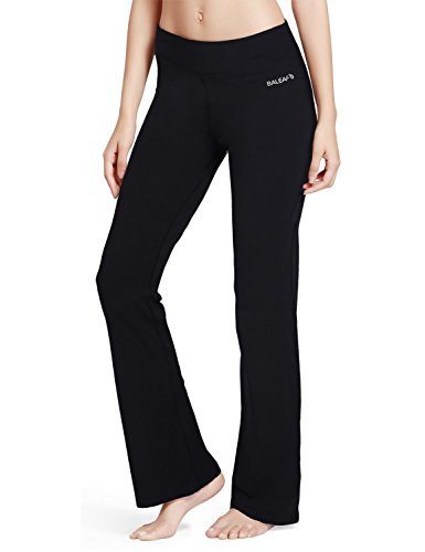 Baleaf Women's Yoga Bootleg Pants Inner Pocket Black Size XL