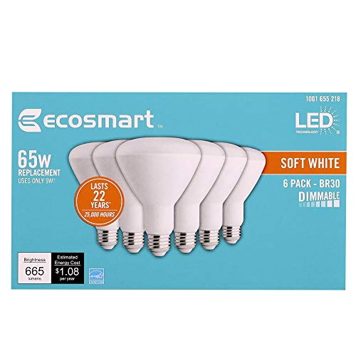 EcoSmart 65W / 65 Watt Replacement (10.5W) LED BR30 Dimmable Soft White (2700K) Medium Base (E26) Energy Star Rated Reflector Lamp for Recessed Can Lights, 6 Pack