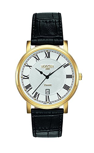 Roamer Men's Quartz Watch with Silver Dial Analogue Display and Black Leather Strap 709856 48 22 07