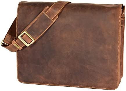 Real Leather Cross Body Flap over Work Bag Shoulder Messenger Las Vegas Tan