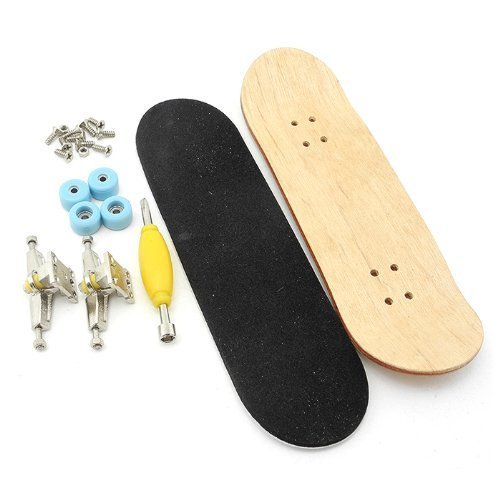 iSaddle Maple Wooden Fingerboard with Blue Bearing Wheels Nuts Trucks Tool Kit - Pack Skateboard Fingerboard