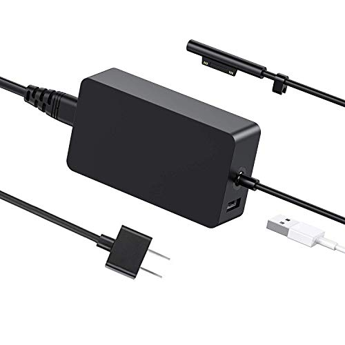 Surface Pro Surface Laptop Charger, DDBOX 44W 15V 2.58A Power Supply Compatible Microsoft Surface Pro Surface Laptop Surface Pro 3 Pro 4 Surface Go & Surface Book with 6.2ft Power Cord and 5V 1A USB