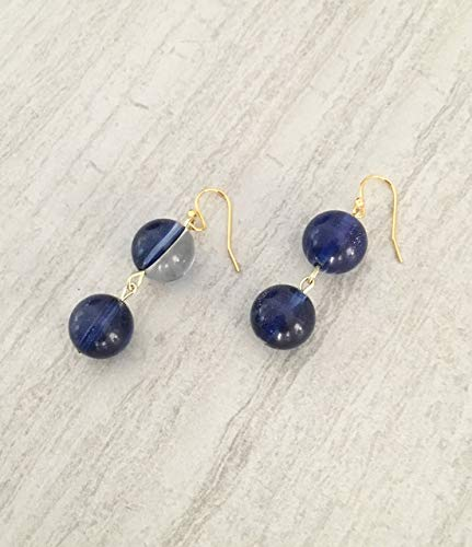 Dark Blue Solar Quartz 2 Bead Earrings