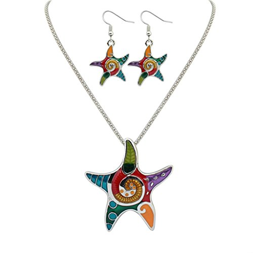 Gnzoe Womens Earring and Necklace Set Drop Oil Starfish Silver ()