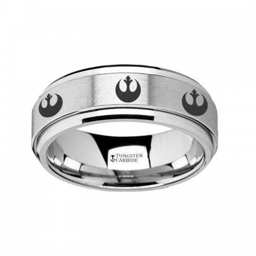 Spinning Engraved Rebel Alliance Star Wars Symbol Tungsten Carbide Spinner Wedding Band - 8mm