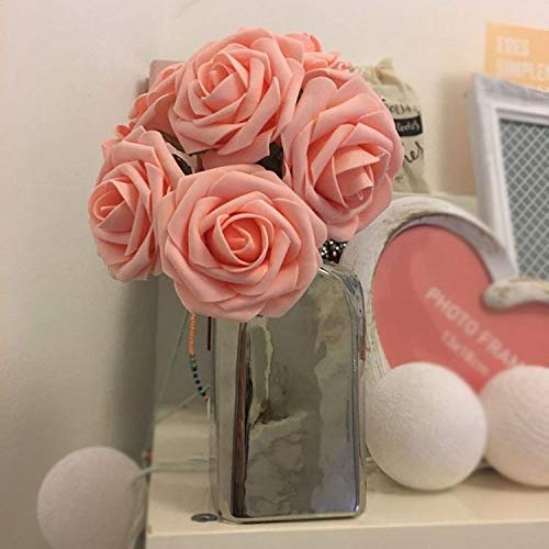 Topixdeals Artificial Flower Rose, 10pcs Real Touch Artificial Roses for DIY Bouquets Wedding Party Baby Shower Home Decor (PINK-10pcs)