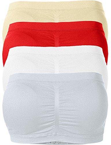 Viiviikay Womens Plus Size Basic Seamless Padded Bandeau Tube Bra Tops Set4 Tpe Ruby Wh Mgry 1X 2X