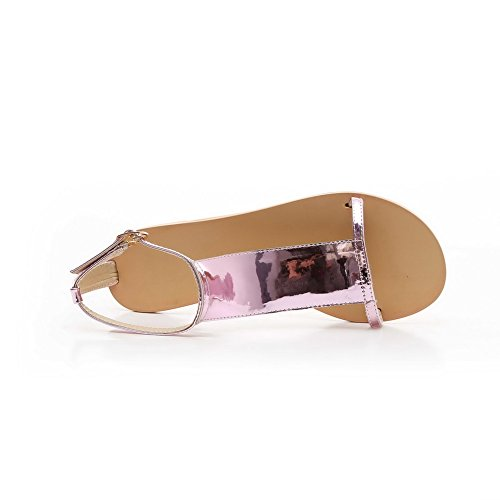 Flats Toe Sandals Solid Womens Heel AmoonyFashion No Leather Buckle Pink Open Patent qHRzXZS