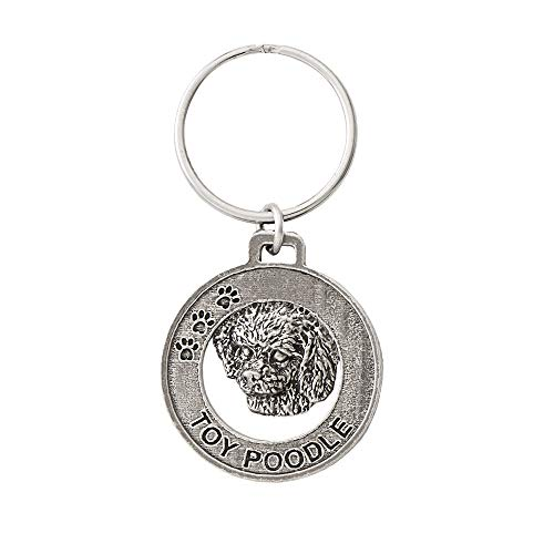 (Toy Poodle Dog Pewter Key Chain, Key Fob, Key Ring, Gift, D144KC)