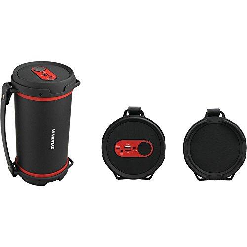 Sylvania SP807-RED Hi-Fi Bluetooth Rugged Tube Speaker (Tube Portable Speaker)