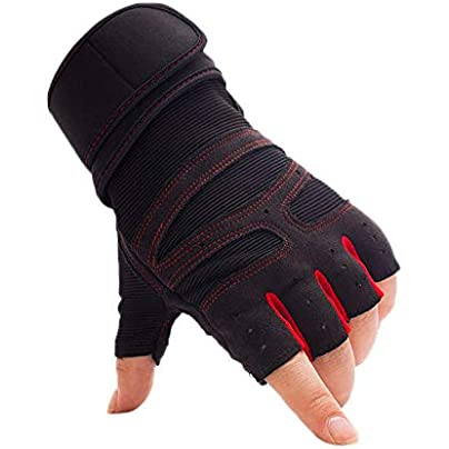 lizubing Breathable half finger gloves Sports fitness gloves Long wristbands Men and women outdoor riding hiking anti-skid gloves red L Estimated Price £17.06 -