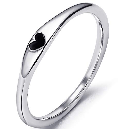 (Jude Jewelers Stainless Steel Heart Shape Classical Wedding Band Stackable Ring (Silver & Black,)