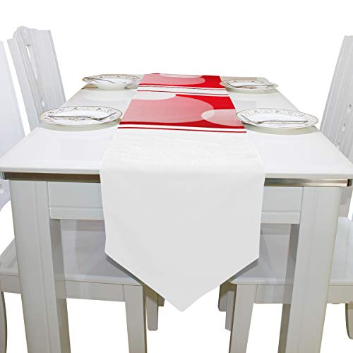 Menedo Table Cover English Letter O Shaped Particluar Printed Table Runner Farm Table Cloths for Kitchen Indoor Decoration Wedding Place Mats Table Toppers 13x90 Inch -