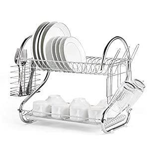 Glotoch Dish Drying Rack, 2 Tier Dish Rack with Utensil Holder, Cup Holder and Dish Drainer for Kitchen Counter Top…