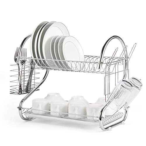 - Glotoch Dish Drying Rack, 2 Tier Dish Rack with Utensil Holder, Cup Holder and Dish Drainer for Kitchen Counter Top, Plated Chrome Dish Dryer Silver 16.5 x 10 x 15 inch