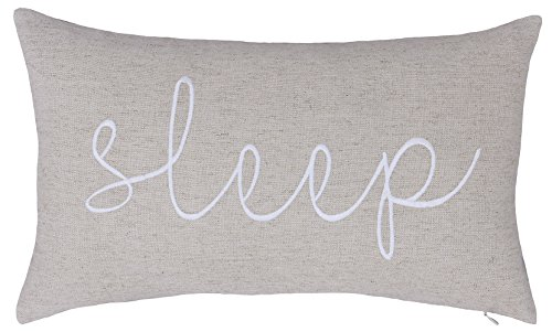 DecorHouzz Sleep Sentiment Embroidered Pillow Cover Cushion Cover Pillow Cases Throw Pillow Decorative Pillow Wedding Birthday Anniversary Gift 12x20 (Ivory)