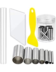 Garta Clay Cutters and Acrylic Clay Roller Set, Stainless Steel Round Circle Shape Cutter Plastic Scraper Backing Board Assisted Shovel Rubber Clay Polymer Rolling Pin Clay for DIY Clay