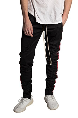 8682958d978 KDNK Men's Tapered Slim Fit Stretch Scuba Techno Racing Reflective Track  Pants (Medium, Black