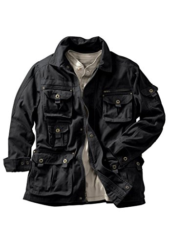 - Boulder Creek Men's Big & Tall Multi-Pocket Jacket, Black Big-2Xl