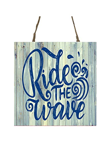 Ride the Waves Printed Handmade Wood Ornament Small Sign