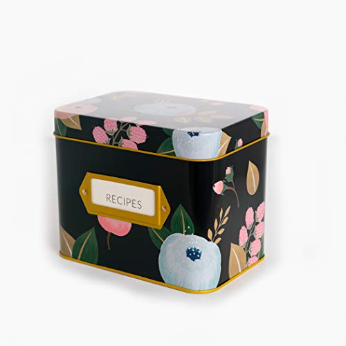 Recipe Box With 24 Cards & 12 Dividers by Polite Society (Black Tin)