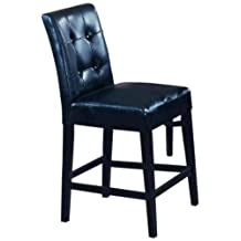 Roundhill 24-Inch Blended Leather Counter Height Bar Stool Chairs with Espresso Finish Solid Wood Legs, Black, Set of 2