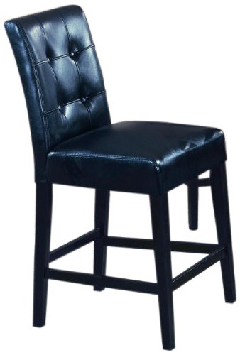 Roundhill Furniture 24 Inch Blended Leather Counter Height Bar Stool With  Espresso Finish Solid Wood