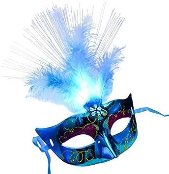 FDGBCF Mujeres Venecia Veneciana Pluma Máscara LED Máscara de ...