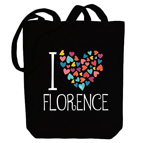 Idakoos I love Florence colorful hearts - US Städte - Bereich für Taschen nHvY5