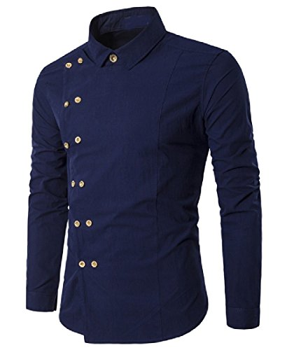 Honey GD Men's Fashion Solid Color Irregular Double Breasted Casual Shirt Navy Blue L