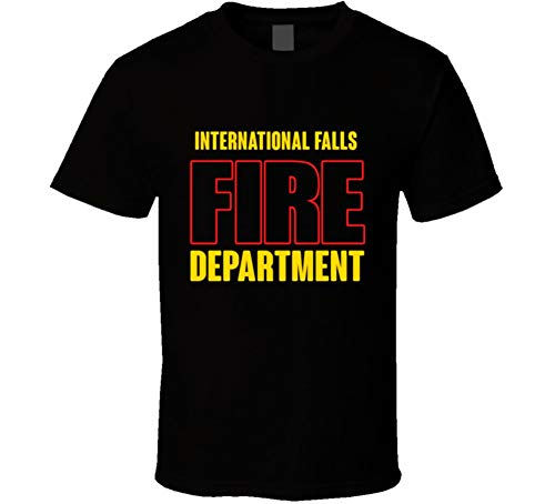 (International Falls Fire Department Personalized City T Shirt 2XL Black)