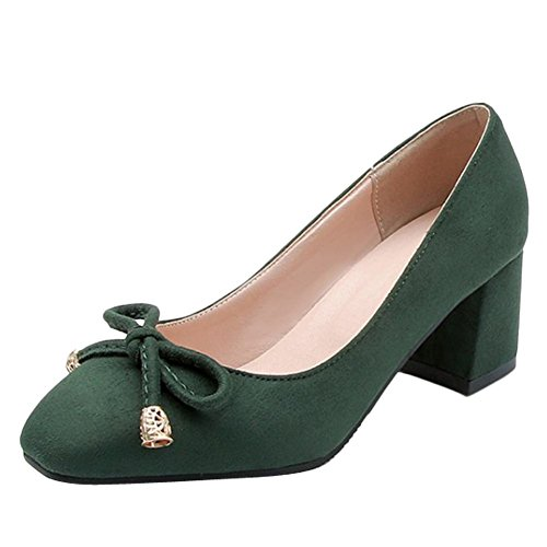 Mee Shoes Women's Charm Block Heel Mid Heel Court Shoes Green DTd6U