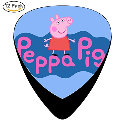 Peppa Pig Logo Classic Guitar Celluloid Picks, 12 Pack,0.46mm x 4pcs,0.71mm x 4 pcs,0.96mm x 4pcs - Little Boy Blue Nursery Rhyme Costume