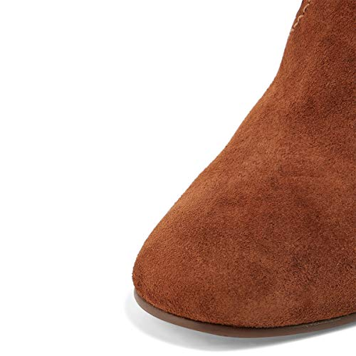 Shoes Booties Brown Mid Boots Stacked High Women Heel YDN Suede Toe Dress Calf Round OzqB7T6x
