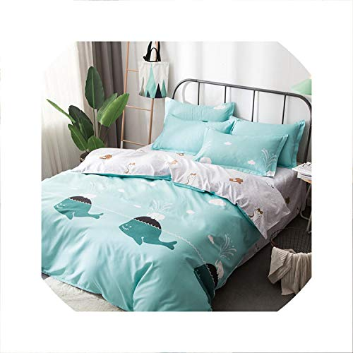 Light household Skin-Friendly Plain Aloe Cotton Comfortable Reactive Dyeing Bed Linen Quilt Cover Pillow Cover Bedding 3/4Pcs,15,Twin 4Pcs