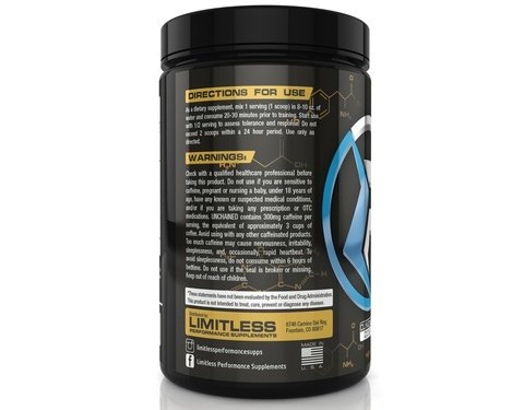 Limitless Performance Supplements Unchained Pre-Workout Pineapple Mango , Powder, Energy, 300mg Caffeine, Beta Alanine, 30 Servings