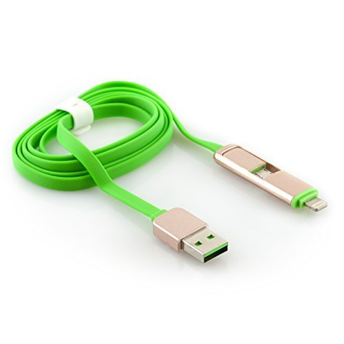 iProtect - Cavo di ricarica USB 2 in 1 / cavo dati con uscita Micro USB + uscita per nuovi Apple - per iPhone 6, 5 5s 5c, iPod Touch 5G, iPad Mini + mini 2, iPad Air + Air 2, Samsung Galaxy, HTC, LG,