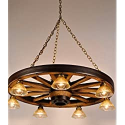 Wagon wheel chandeliers for sale wagon wheel chandelier rustic antique vintage ceiling pendant light lightweight and durable authentic mozeypictures Image collections