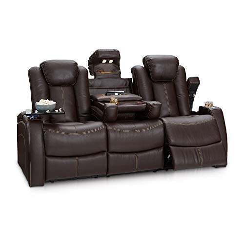 Seatcraft 162E51151559-V1 Omega Home Theater Seating Leather Gel Recline Sofa with Adjustable Powered Headrests, Fold-Down Table, and Lighted Cup Holders, Brown (Media Sofa)