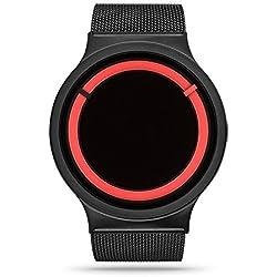 ZIIIRO Eclipse Steel Unisex Watches Black Red