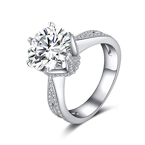 Erllo 925 Sterling Silver 4 Carat Center Cubic Zirconia Round Brilliant Shape Wedding Ring Rhodium Plated Silver 6 Prong Solitaire Simulated Diamond Engagement Ring -