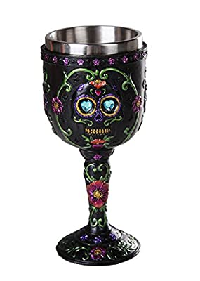 Pacific Giftware Day of The Dead Celebration Black Sugar Skull Floral Design Collectible Wine Goblet 7oz