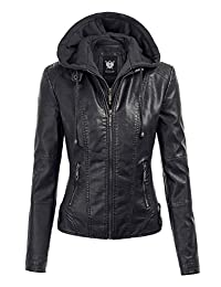 LL WJC1044 Womens Faux Leather Quilted Motorcycle Jacket with Hoodie XL BLACK