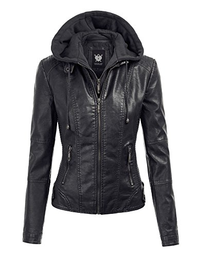 (Lock and Love LL WJC1044 Womens Faux Leather Quilted Motorcycle Jacket with Hoodie XXL)